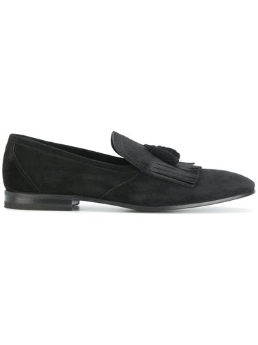 Henderson Baracco Fringed Trim Loafers Calf Leather Horse Leather Leather Cashmere Black ldlvdt