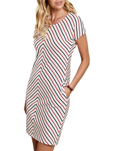 Navy Barbour White Striped Whitmore Orange Dress O8Iqv
