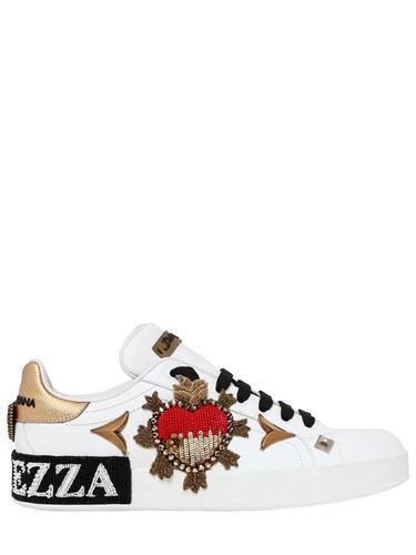 Leather White Sneakers amp; Embellished Gabbana Dolce Gold 20Mm RwnIqF6xg