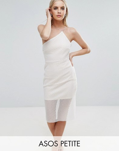Petite Mesh Dress Shoulder Sporty Asos Midi White One O6vwqdCR