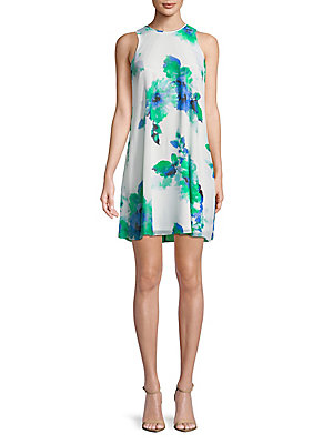 Calvin Regatta Floral Dress Shift Klein Sleeveles RROwfxAqzP