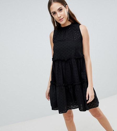 Sleeveless Trapeze Ultimate Black Dress Broderie Tall Asos 0x4E8E