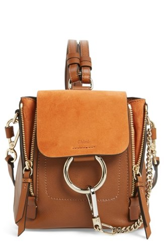 Mini And Suede Chloé Leather Brown Faye Tan Backpack SwCHqfd