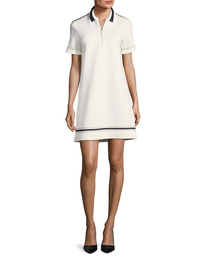 Ivory Short Neoprene Sleeve Sempione Dress With Piazza Piping Collared w8qC6nfA