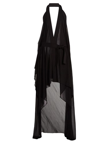 Balmain Halterneck Black Dress Wrap Draped Stretch Knit FqYSxFr5
