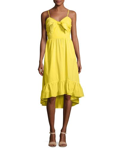 Hem High Clorinda Yellow Dress Low Ruffle Joie Cotton Sun Ua1zqq