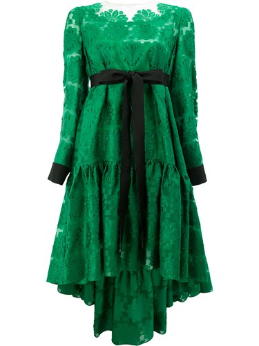 Embroidered Acetate Dress Fendi Silk Green Asymmetric Viscose Cotton Hem Floral aq5Twp