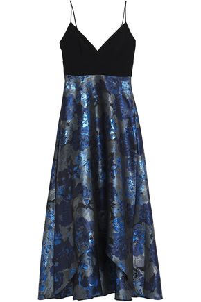 Badgley Cady Blue Metallic Jacquard Gown Mischka Midnight And rr4Wwq5SUg