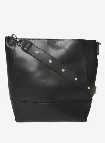 Dorothy Perkins Pieces Black Stud Strap Shoulder Bag 7Lv0z7SR