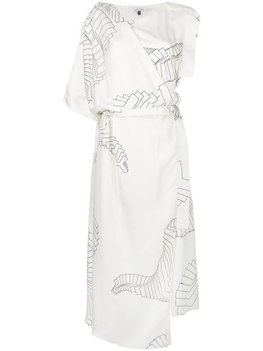 Krizia Asymmetric Asymmetric Krizia Dress White Printed Dress White Printed UIwqg1a
