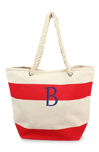 Cathy's Concepts Personalized Stripe Canvas Tote Red Red B Y47h8P