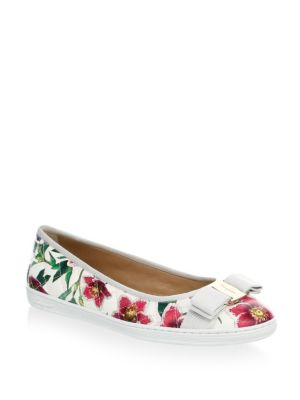 Flats White Salvatore Floral Ferragamo Multi Leather qnS7Z