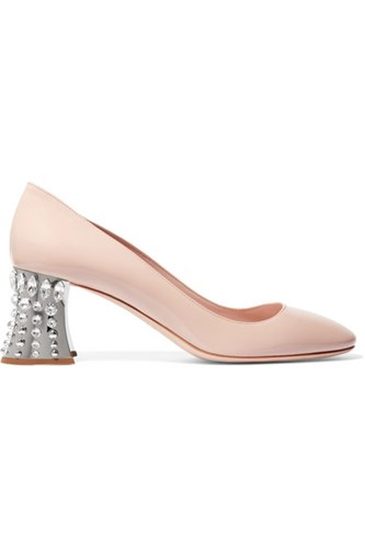 Miu Usd Miu Patent Beige Embellished Leather Crystal Pumps wZq0w48S