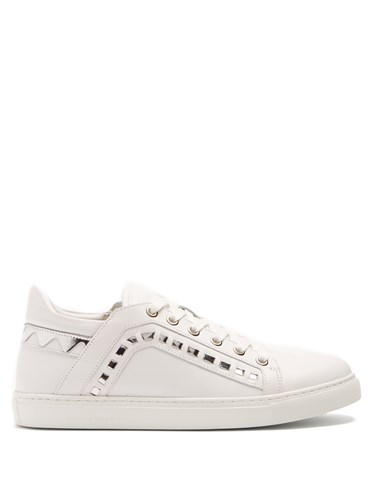 Sophia Webster Riko Leather Low Top Trainers White Silver TNxwdqBVz5