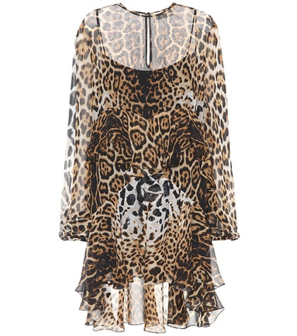 Minidress Silk Laurent Brown Print Leopard Saint 1IBFq