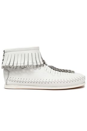 White Fringed Textured Wang Leather Alexander Ankle Boots Embellished zT6B7wq