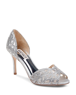 High Badgley Mischka Embellished Leather D'orsay Silver And Pumps Women's Harris Heel Mesh A8rFBAq