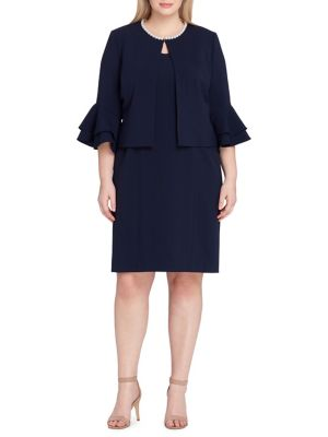 Tahari by Arthur S. Levine Flounce Seeve Jacket And Dress Set Navy gI0T9r1HEZ