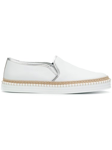 On White Slip Woven Hogan Sneakers Detail q1HFS5