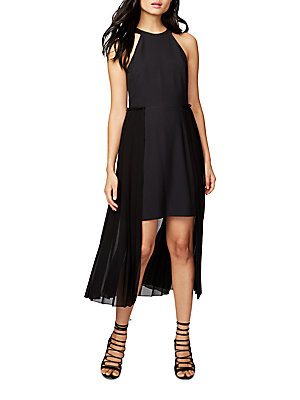 Roy Rachel Pleated Black High Low Dress dq71a