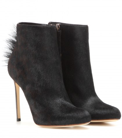 Calf Boots Francesco Russo Hair Ankle Black Yv7zq