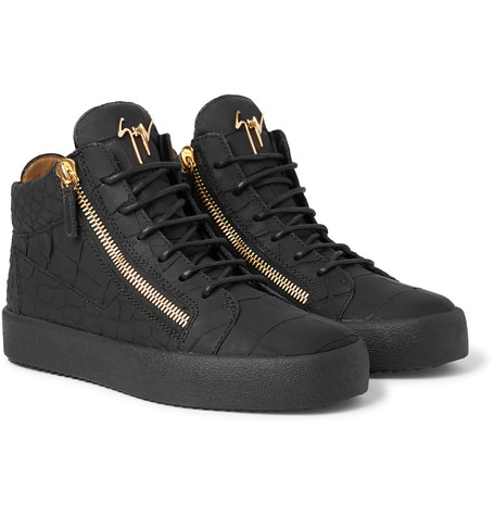 Croc Effect Sneakers Logoball Zanotti Black Top Giuseppe High Leather xwStECqBq