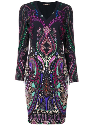 Black Neck Roberto Women V Cavalli Elastodiene Dress Viscose 44 PqwR8AEq