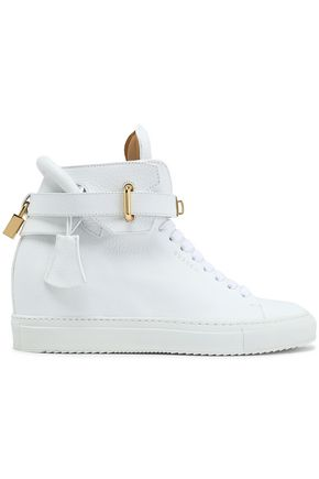 White Buscemi Embellished High Leather Top Pebbled Sneakers qZYpxq