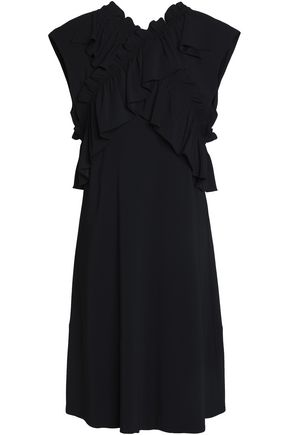 Marni Crossover Ruffle Trimmed Crepe Dress Black r2SKPY