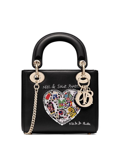 De Niki Black Textured Phalle Print Pattern Bag Saint Lady Dior Christian With Mini XCxwzP0YqY