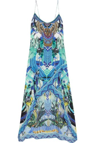 Silk Blue Camilla Dress Printed Chine Crepe Embellished De qxwvH6Ep