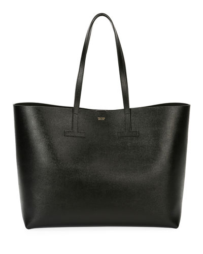 Tom Ford Saffiano Leather T Tote Bag Black 7SGMmT