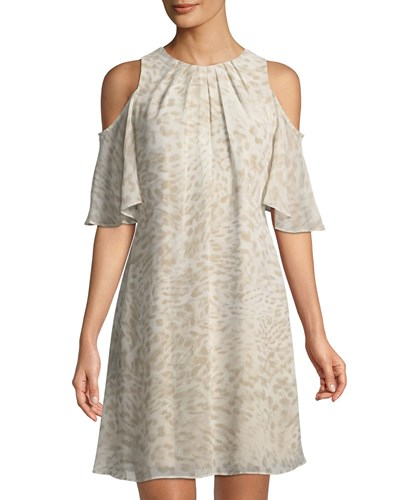 Iconic Dress Animal Tan American Cold Shoulder Designer Print qwrS7WqOUx