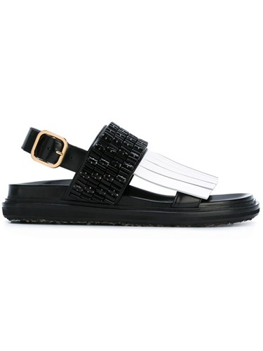 Marni Fringed Black Fussbett Embellished Sandals TTOr5qZWwx