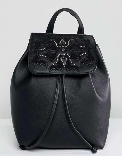 Detail Backpack Bershka Drawstring With Black Western 1YC145wnq