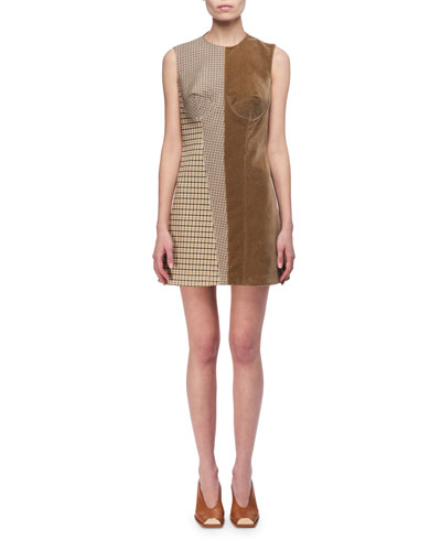 McCartney Minidress Stella Velvet Bustier Check Tan And qwpZa