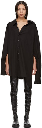Junya Shirt Slit Watanabe Oversized Sleeve Dress Black XwXqr