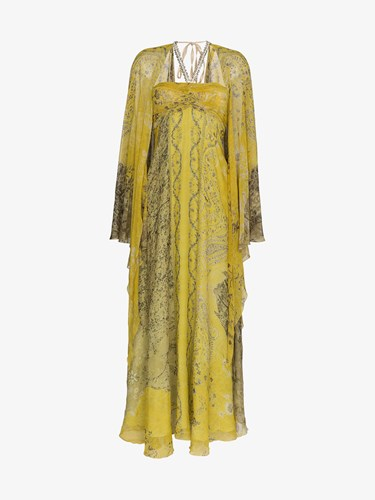 Etro Paisley Embellished Silk Gown Yellow And Orange tjc3ulhQ