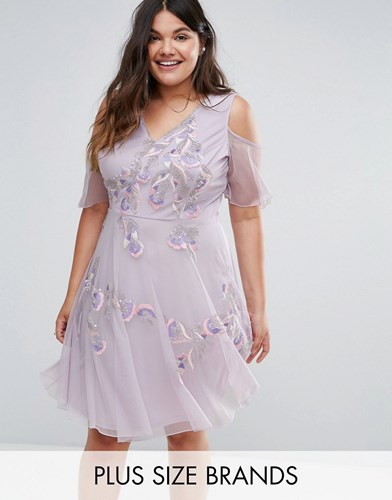 Frock and Frill Plus Embellished Skater Dress With Ruffle Cold Shoulder Purple F39vsb