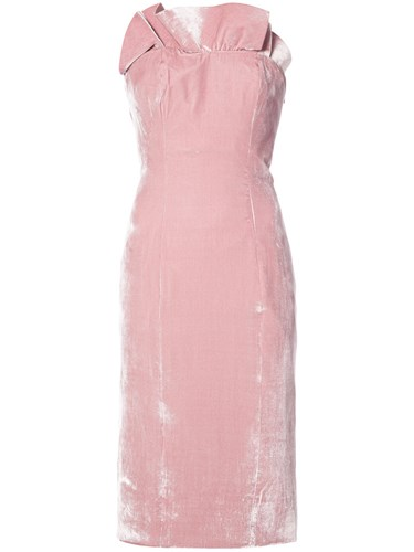 Rayon Midi Purple Silk Dress Cinq Pink Strapless à Sept YzwqqBaR