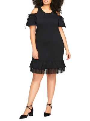 Legend Dress Elle Shoulder Cold Fashion Jersey Frilled Love Addition Black Plus And xaTOOU