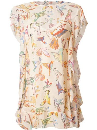 RED Valentino Birds Print Shift Dress Nude Neutrals Le7VCU2nYT
