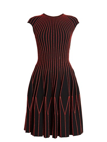 Alexander McQueen Contrast Stitch Geometric Pleated Skirt Dress Black Gold 0Pxg6