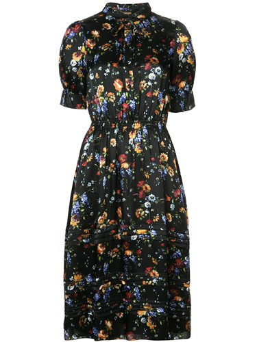 Black ADAM Floral by Shirt Midi Print Lippes Dress Adam nPSOwPxqf6