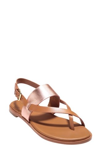 Leather Cole Pecan Rose Haan Sandal Anica Gold qqxpzg4