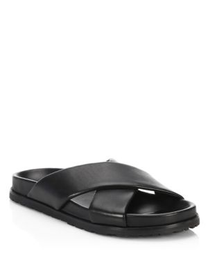 Saint Laurent Crisscross Leather Slides Black PoGFVoDSwW
