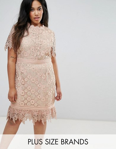 Truly You Contrast Lace Mini Dress With Insert Trim Pink HZDoH
