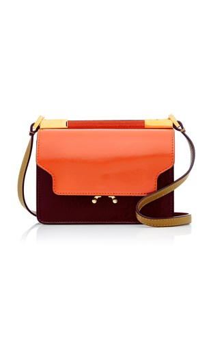 Marni Patent Trimmed Leather Shoulder Bag Red Xc4yfzz