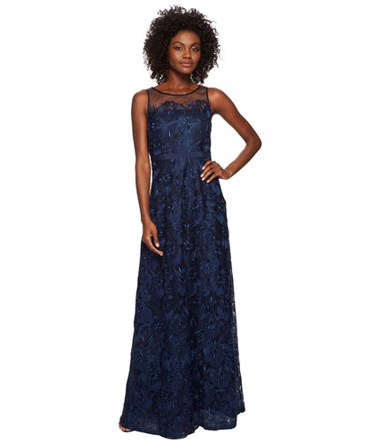 Adrianna Papell Long Metallic Embroidered Gown Midnight Dress Navy JH08zyqs