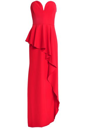 Red Peplum Tomato Ruffled Gown Layered Crepe Milly xROtYwqpp